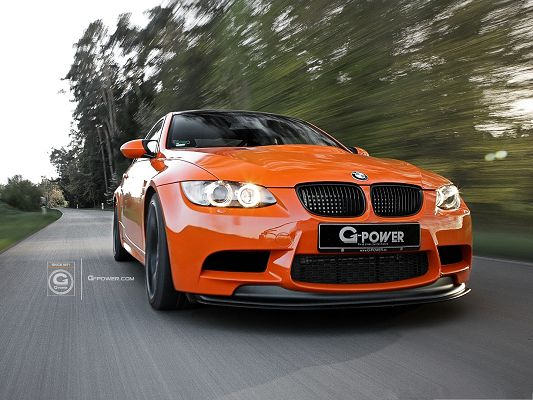 click to free download the wallpaper--Free Cars Wallpaper, Orange G-POWER M3 GTS in the Run, Great Speed