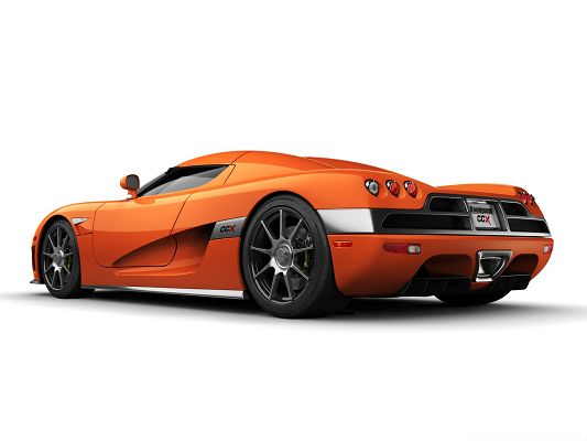 click to free download the wallpaper--Free Cars Wallpaper, Orange Koenigsegg CCX in Rear Look