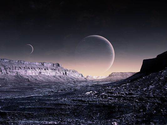 Free Computer Background, Moon Fantasy, Tall Black Hills Beneath