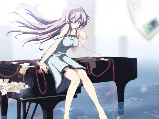 Free Cute Anime Girls, Sitting on Piano, Short Dress, Dancing Hair, She Has Incredible Beauty