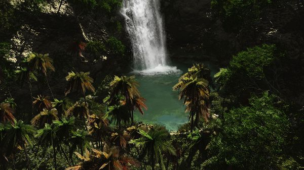 Free Download Natural Scenery Picture - A White and Large Waterfall, Green Plants Surrounding, Great in Look
