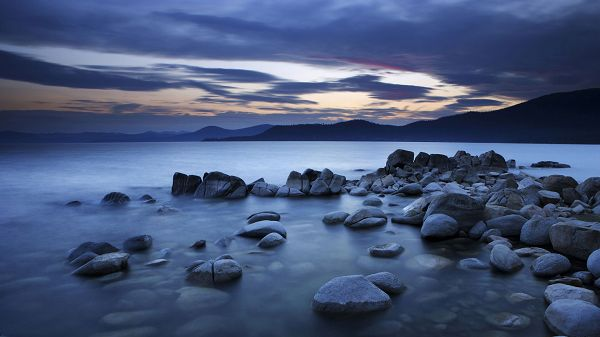 Free Download Natural Scenery Picture - Black Stones by Beachside, the Peaceful and Sleeping Sea, What a Scene!
