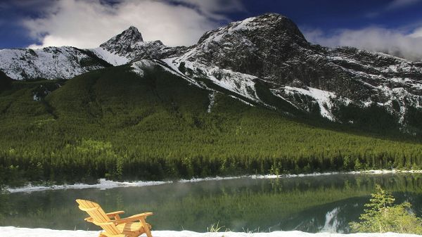 Free Download Natural Scenery Picture - Snow-Covered Hill Tops, the Clear Sea, a Chair by the Side, Stay and Enjoy the Scene