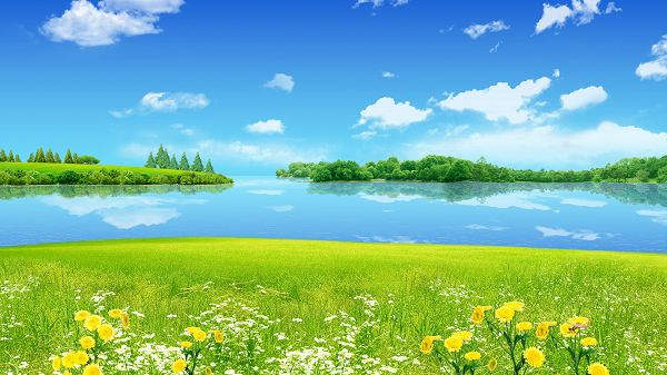 click to free download the wallpaper--Free Download Natural Scenery Picture - The Clear Blue Sea and Sky, Incredibly Green Plants Alongside, Too Good to be True