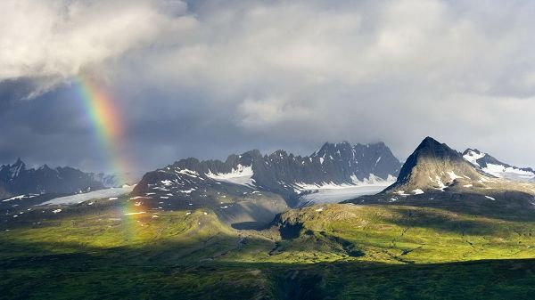 Free Download Natural Scenery Picture - The Rain is Gone, Rainbow is Showing Up, on Green Grass, It is Looking Good