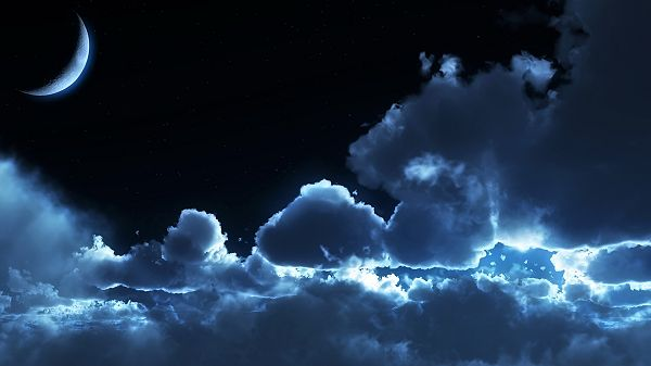 click to free download the wallpaper--Free Download Natural Scenery Picture - The Thick Clouds Under the Moon's Shine, in Unique Shapes, the Evening Scene