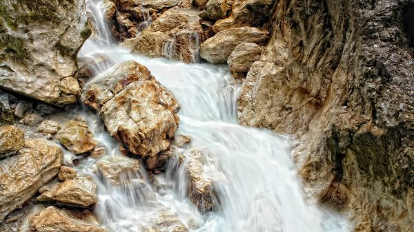 Free Download Natural Scenery Picture - The Waterfall in Rapid Flow, Yellow Stones Brushed Clean