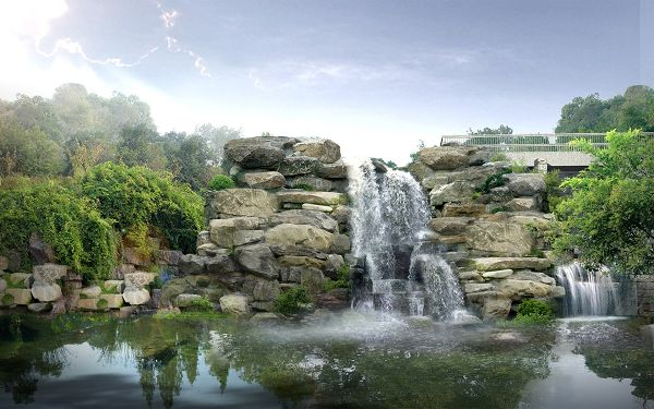 Free Download Natural Scenery Wallpaper - Japan Digital Waterfall Post, River Shall Fall Undlessly, Producing Clean Water
