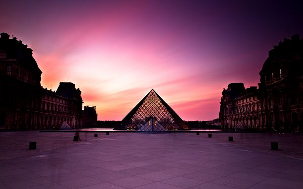 Free Download Natural Scenery Wallpaper - Louvre Museum at Sunset, All Buildings Painted Pink, One Feels Romantic and Being Loved