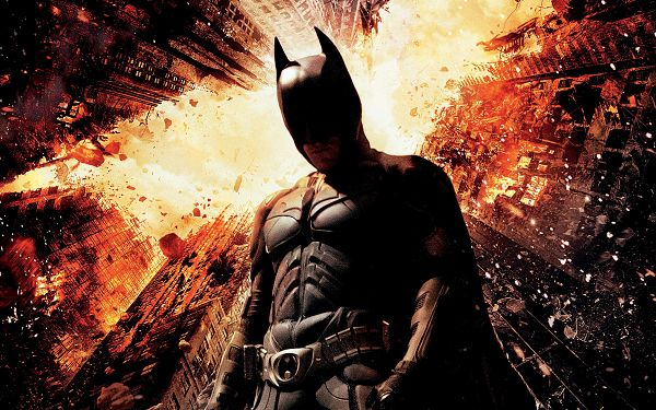 click to free download the wallpaper--Free Download TV & Movies Post - Christian Bale Dark Knight Rises, Tall Buildings Are Falling into Pieces, Batman Will Face This
