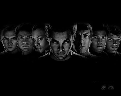 click to free download the wallpaper--Free Download TV & Movies Post - Star Trek Movie Post, All Guys in Serious Look, Dark and Depressing Scene