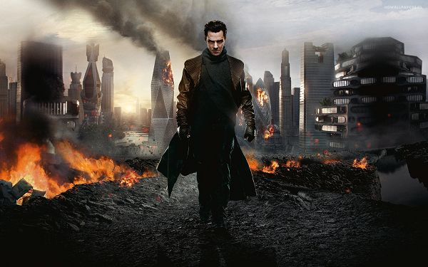 click to free download the wallpaper--Free Download TV & Movies Post - Star Trek into Darkness Post in Pixel of 2880x1800, Man Walking Alone in Fire Zone, Fearless and Determined