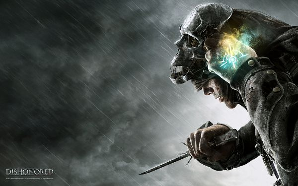 click to free download the wallpaper--Free Download TV & Movies Post of Dishonored Game, Man in His Special and Sharp Weapon, More Impressive in a Rainy Day