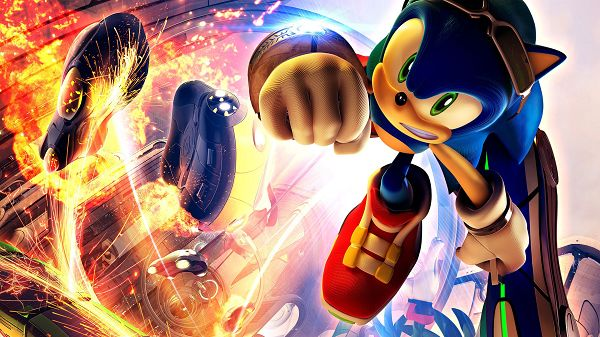 Free Download TV & Movies Post of Sonic Riders Game, a Bright and Colorful Scene, the Tough Boy Shall Make His Way Out