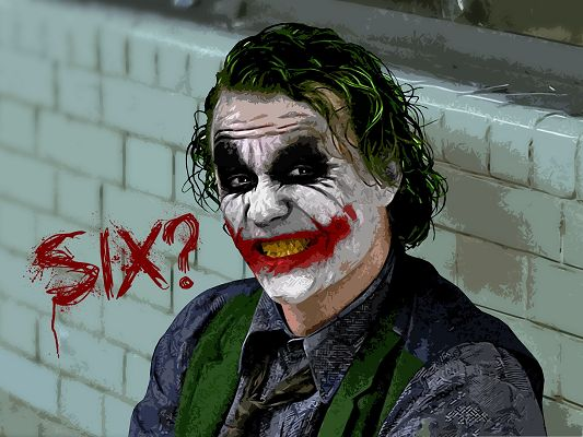 Free Film Wallpaper, Joker in Batman, Twisted Face Saying Six
