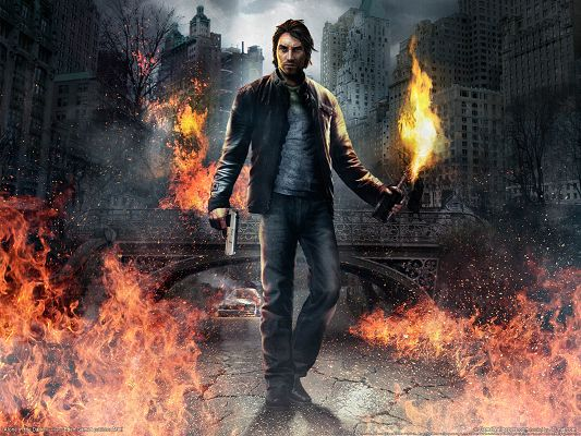 Free Game Posts, Alone in the Dark, a Man Walking in Fire, He is the Brave and Tough Guy