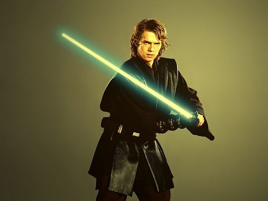 Free Game Posts, Anakin Skywalker in a Shinning Sword, Light Green Background, He is Unbelieveable
