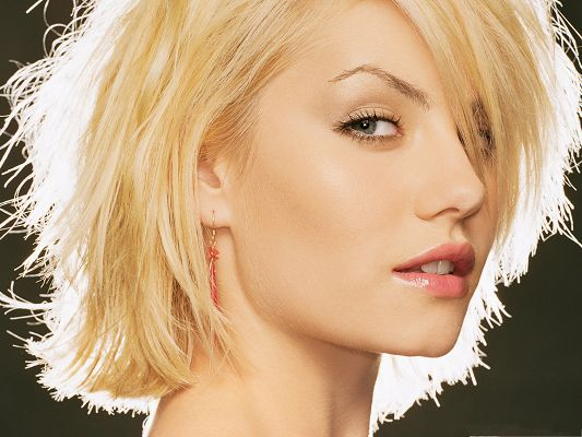 click to free download the wallpaper--Free Girls Wallpaper, Elisha Cuthbert in Short Hair, Look Back with Beautiful Eyes