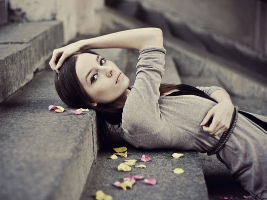 click to free download the wallpaper--Free Girls Wallpaper, Pretty Girl Lying on Stairs, Falling Petals Around Her