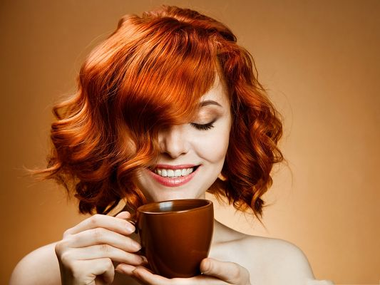 click to free download the wallpaper--Free Girls Wallpaper, Red Haired Woman Drinking Coffee, Must Taste Good