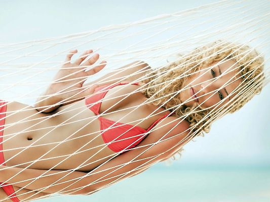 Free Girls Wallpaper, Young Lady in Red Bikini, Resting in Hammock