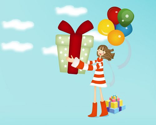 click to free download the wallpaper--Free Holiday Post, a Little Girl with a Large Gift Box, She is Nice and Kind