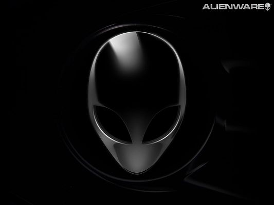 click to free download the wallpaper--Free Mask Posts, Alienware in Black Head, Dark Background, Combine an Incredible Scene
