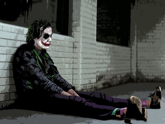 click to free download the wallpaper--Free Movies Post, Joker from the Batman, the Depressed Man