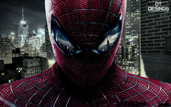 click to free download the wallpaper--Free Movies Wallpaper, Spiderman OT Design, Buildings Reflection in the Eyes
