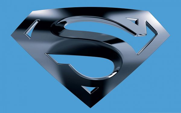 click to free download the wallpaper--Free Movies Wallpaper, Superman Logo with Blue Background