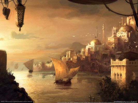 Free Natural Scenery Post, a Ship Sailing on the Sea, Royal Castles, Incredible Scene