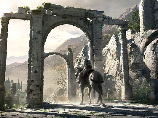 click to free download the wallpaper--Free Pics of Games, Assassin's Creed, a Man Alone on the Horse, Arches Stone, Shall Strike a Deep Impression