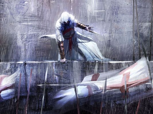 click to free download the wallpaper--Free Pics of Games, Assassin's Creed, a Man in Stand, Rain Falling, He is Tough and Hard to Beat