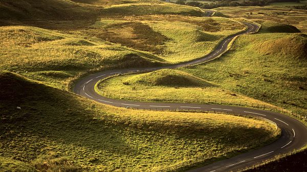 Free Pics of Rural Scene - The Winding Road Seems Naturally Formed, Green Plants Along Both Sides