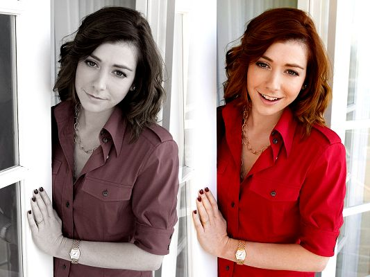 click to free download the wallpaper--Free Pics of TV & Movies, Alyson Hannigan in Two Styles, Change the Mood with Her Look