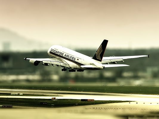 click to free download the wallpaper--Free Plane Wallpaper, Singapore Airlines Taking Off, Wonderful Journey in the Sky