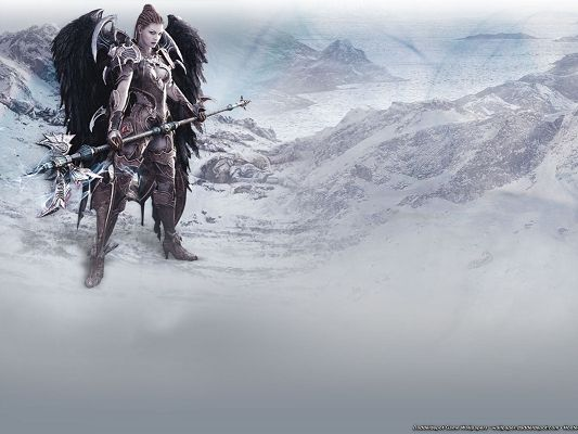 click to free download the wallpaper--Free Post of Games, Aion Game, a Cool and Well-Equipped Girl, Snow-Capped Mountains