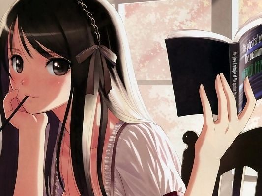 click to free download the wallpaper--Free Posts of Anime Girl, Eyes Wide Open, the Girl Focuses on Reading Her Book