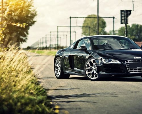 click to free download the wallpaper--Free Super Car Post, Audi R8 Turning Around, Rural Scene, They Fit Each Other Well