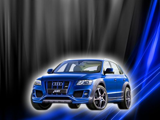 Free Super Cars Post, Blue Audi Q5 on Gray Background, It Comes from Heaven