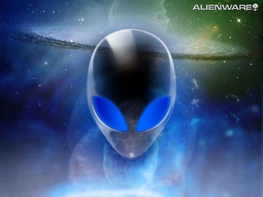 click to free download the wallpaper--Free TV & Movies Photos, Alienware in Blue Light, the Enormous Space Behind It