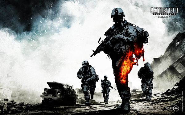 click to free download the wallpaper--Free TV & Movies Picture - Battlefield Bad Company Post in Pixel of 1920x1200, a Guy is on Fire, He is Tough and Unbeatable