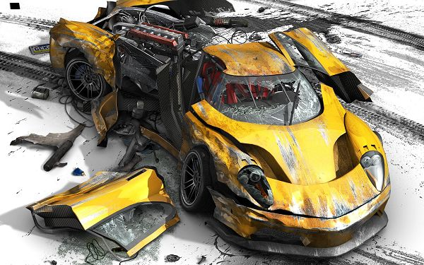 click to free download the wallpaper--Free TV & Movies Picture - Burnout Revenge Post in Pixel of 1920x1200, Yellow Burnout Car, Is It Losing Breath?