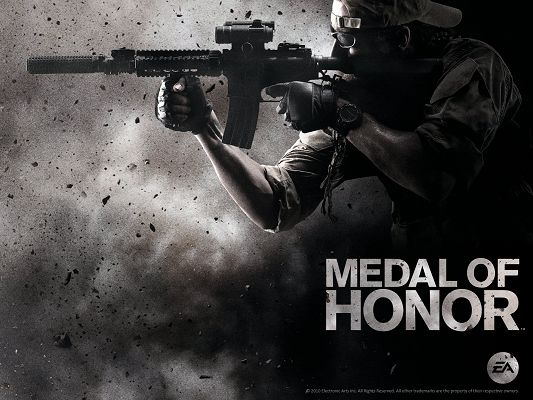click to free download the wallpaper--Free TV & Movies Picture - Medal of Honor Post in Pixel of 1600x1200, Ashes and Small Pieces Flying Around the Cool Guy