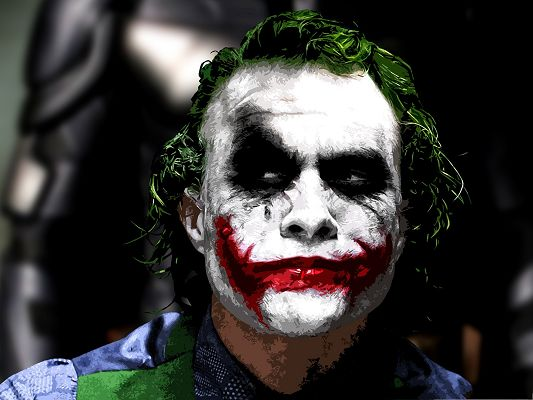 click to free download the wallpaper--Free Top Movies Post, Joker in Batman, Wide and Long Red Mouth