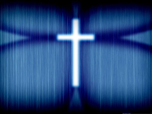 click to free download the wallpaper--Free Wallpaper Background, White Cross on Blue Setting, Fits Various Devices