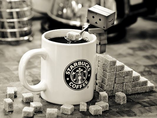 click to free download the wallpaper--Free Wallpaper Backgrounds, Danbo Making Starbucks Coffee, Want One More Sugar?