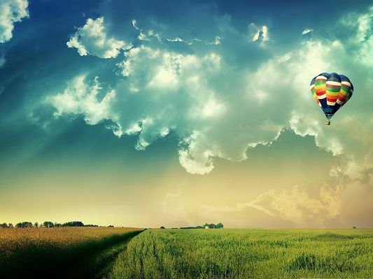 click to free download the wallpaper--Free Wallpaper Backgrounds, Hot Air Balloon in Fly, Take Your Dream with It!