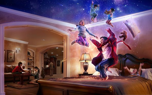 click to free download the wallpaper--Free Wallpaper Backgrounds, Jump Free and High, Enjoy the Magic of Childhood