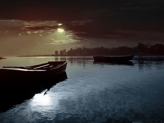 click to free download the wallpaper--Free Wallpaper Backgrounds, Lovely Evening, Boats Taking a Rest on the Peaceful Sea